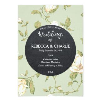 Hochzeitseinladungshellblaue Blumentafel Karte