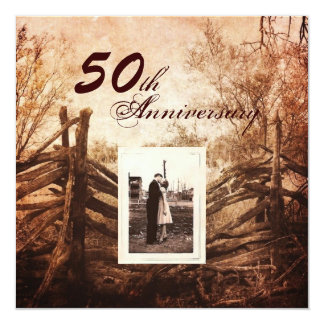 Hochzeitsjahrestag des Westernlandbauernhofes 50. Quadratische 13,3 Cm Einladungskarte