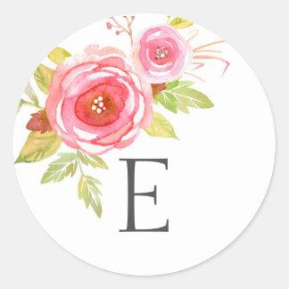Hochzeitsmonogramm-Umschlag Aufkleber, rosa Runder Aufkleber