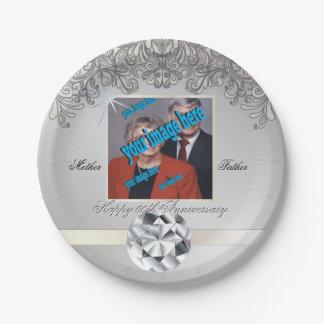 Hochzeitstag des Diamant-60. Wegwerf Pappteller 17,8 Cm