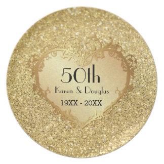 Hochzeitstag des Schein-Goldherz-50. Teller