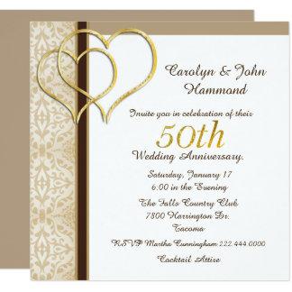 Hochzeitstag-Einladung der Goldherz-50. Quadratische 13,3 Cm Einladungskarte