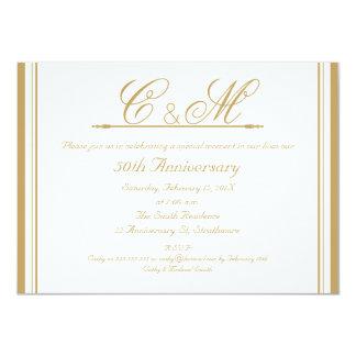 Hochzeitstag-Einladung der Monogramm-50. 11,4 X 15,9 Cm Einladungskarte