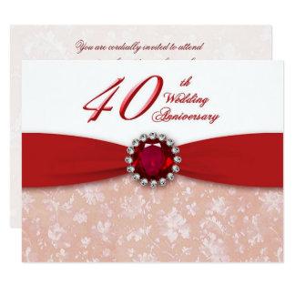 Hochzeitstag-Einladung des Damast-40. 10,8 X 14 Cm Einladungskarte