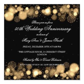 Hochzeitstag-Gold des Winter-50. Quadratische 13,3 Cm Einladungskarte