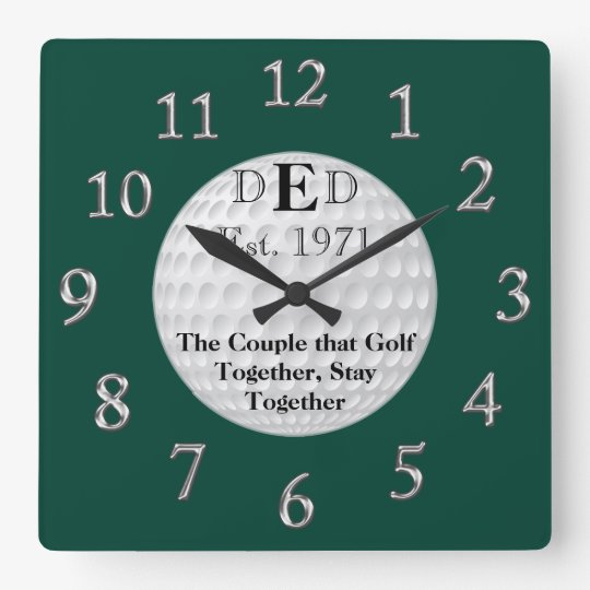 hochzeitstag golf uhr mit ihrem text wanduhren zazzle. Black Bedroom Furniture Sets. Home Design Ideas