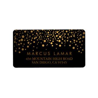 Hochzeitstag-modische Goldpunkte auf Schwarzem Adressaufkleber