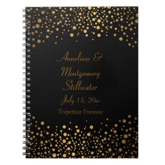 Hochzeitstag-modische Goldpunkte auf Schwarzem Spiral Notizblock