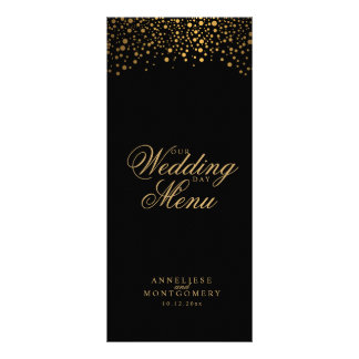 Hochzeitstag-modische Goldpunkte auf Schwarzem Werbekarte