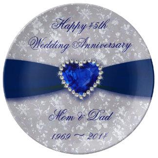 Hochzeitstag-Porzellan-Platte des Damast-45. Teller Aus Porzellan