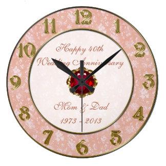 Hochzeitstag-Uhr des Damast-40. Wanduhr