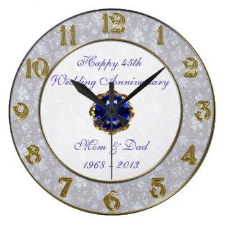 Hochzeitstag-Uhr des Damast-45. Wanduhren