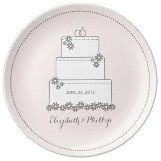 Hochzeitstorte-dekorative Geschenk-Platte - Rosa Porzellanteller