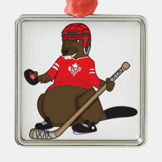 Hockey-Biber Kanadas 150 im Jahre 2017 Silbernes Ornament