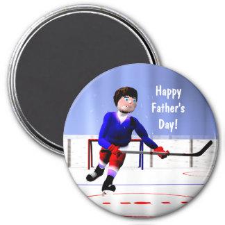 Hockey-der Vatertag über die Zeit hinaus Runder Magnet 7,6 Cm