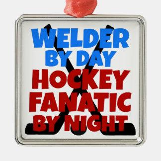 Hockey-Liebhaber-Schweißer Quadratisches Silberfarbenes Ornament