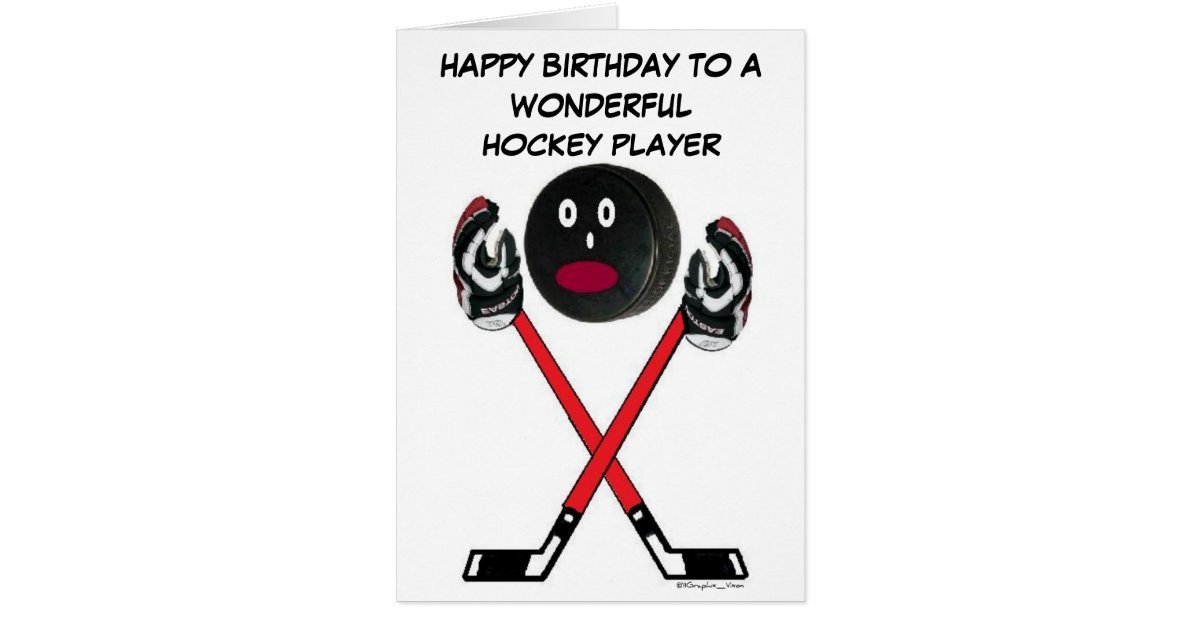 hockey spieler geburtstag gru karte zazzle. Black Bedroom Furniture Sets. Home Design Ideas