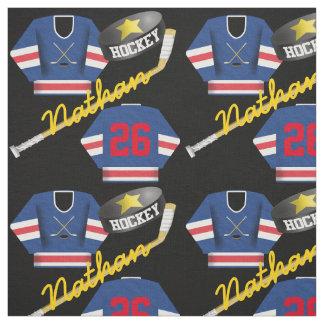 Hockey-Spieler-Jerseykobold-und -stock-Namenszahl Stoff