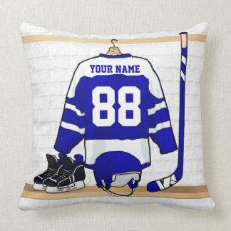 Hockey sur glace bleu et blanc personnalisé Jersey Oreillers