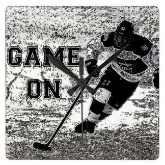 Hockey-Wand-Uhr-personalisierte Gewohnheit Quadratische Wanduhr