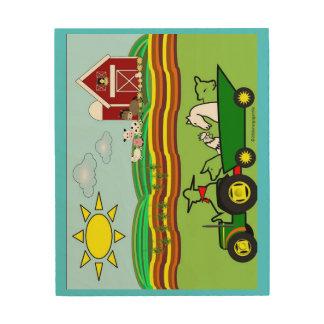 Hof-Szenen-Traktor der Tiere Holzwanddeko
