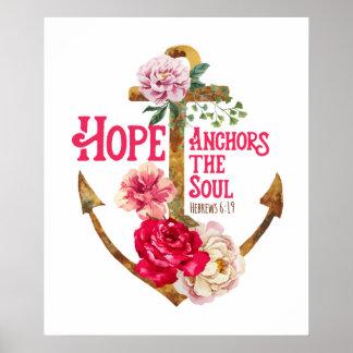 Hoffnung verankert den Soul-Kunst-Druck Poster