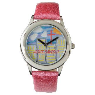 Hoffnungs-heilende Kirche Jesus rettet Glitter-Uhr Armbanduhr