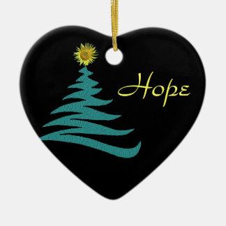 Hoffnungs-Weihnachtsbaum-Verzierung - Herz Keramik Herz-Ornament