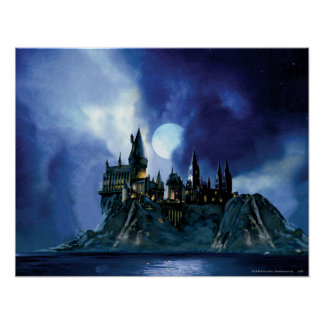 Hogwarts par clair de lune poster