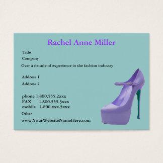 Hohe Fersen-Schuh lila Visitenkarte