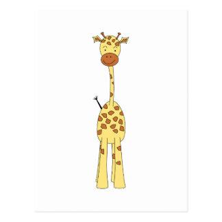 Hohe niedliche Giraffe. Cartoon-Tier Postkarte