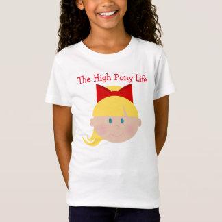 Hohe Pony-Leben-Cheerleader-blondes Haar-blaue T-Shirt