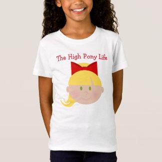 Hohe Pony-Leben-Cheerleader-blondes Haar-grüne T-Shirt