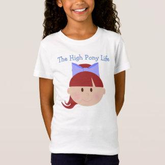 Hohe Pony-Leben-Cheerleader-rote Haar-Brown-Augen T-Shirt