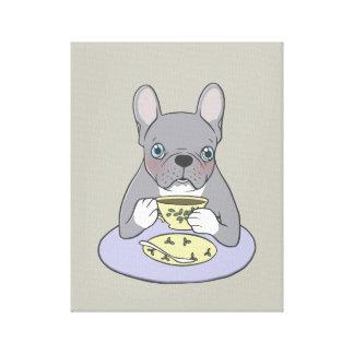 Hohe Tees mit niedlichem blauem Brindle Frenchie Leinwanddruck