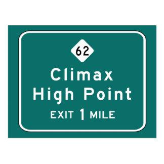 Höhepunkt, Straßen-Markierung, North Carolina, USA Postkarte