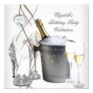 Hohes Heels-Party elegantes silbernes Quadratische 13,3 Cm Einladungskarte