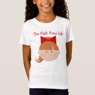 Hohes Pony-Leben-Cheerleader-Brown-Haar-grüne T-Shirt