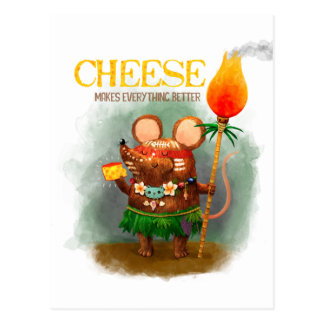 Höhlen-Maus und Käse Postkarte