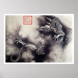 Hokusai - Drache-Rollen Poster