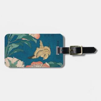 Hokusai Pfingstrosen und zitronengelbes Vintages Gepäckanhänger