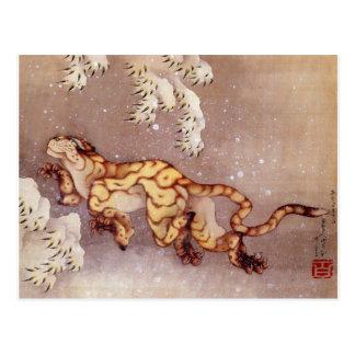 """Hokusais """"Tiger im Schnee"""" Postkarte"""