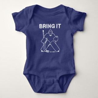 Holen Sie ihm Hockeygoalie-Baby-Säuglings-Bodysuit Baby Strampler