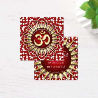 Holistisches rotes weißes Mandala-Quadrat Gold-OMs Quadratische Visitenkarte
