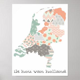 Holland-Provinz-Karten-geometrische Patchwork-Art Poster