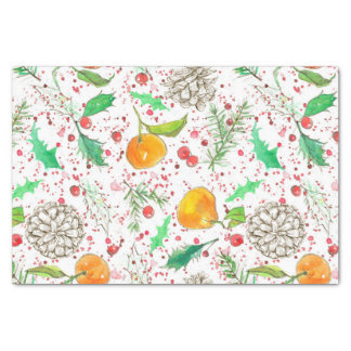 Holly Berry Cranberries Tangerine Watercolor Fruit Seidenpapier