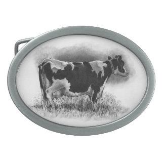 Holstein-Kuh: Bleistift-Zeichnen: Realismus: Molke Ovale Gürtelschnallen