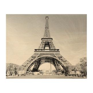 Holz-Platte Paris-Eiffelturm-B&W SketchWorx Holzleinwand