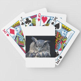 Holzauge sei wachsam - blinzelnder Uhu Bicycle Spielkarten