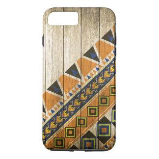 Hölzerne aztekische Muster-Orange iPhone 8 Plus/7 Plus Hülle